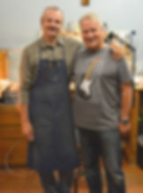 Fender Master Builder Yuriy Shishkov with Gary Davies at the Fender Custom Shop in Corona California