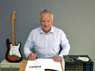 Author Gary Davies signing copies of his book ANNIVERSARY STRAT