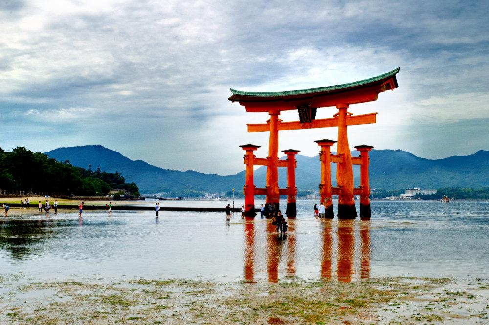 The Itsukushima Shrine on the Japanese island of Miyajima.