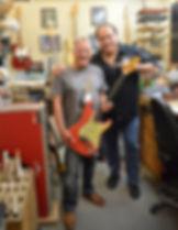 Fender Master Builder John Cruz at the Fender Custom Shop in Corona California with Gary Davies and Gary Moore Stratocaster