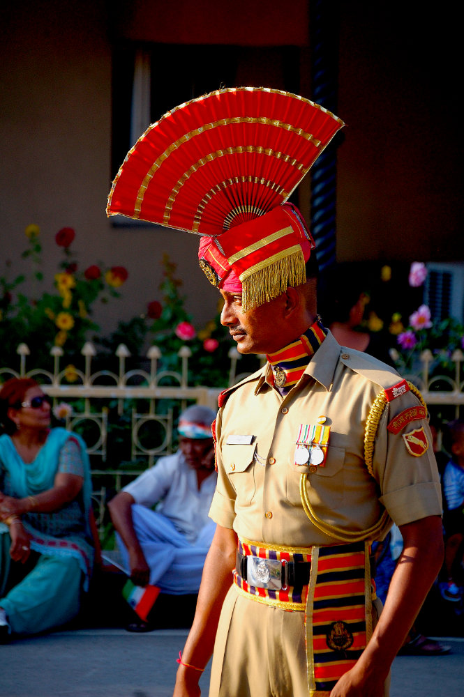 Indian soldier at the border between India and Pakistan