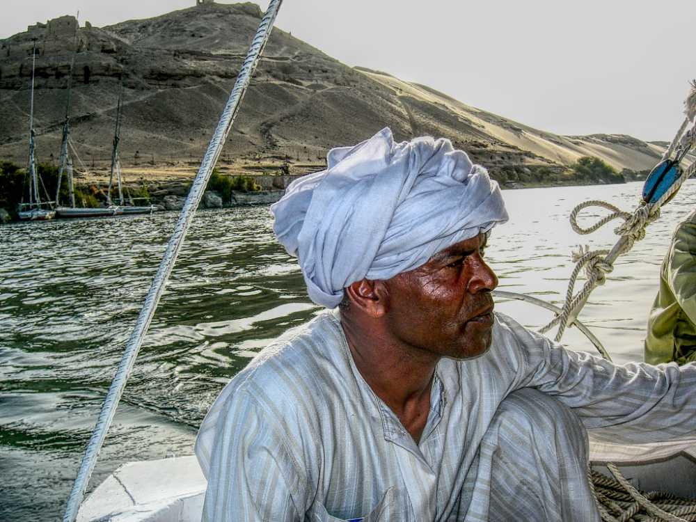 Man on a dhow sailing the Nile