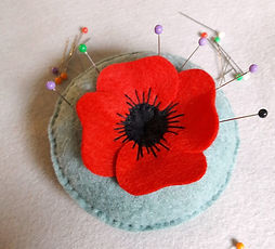 Red Poppy pincushion pattern