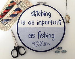 Stitching is as important as fishing crossstitch pattern