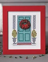Christmas Door in cross stitch