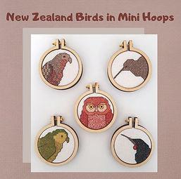 Kea,Kiwi,Kakapo, Saddleback and Morepork cross stitch pattern
