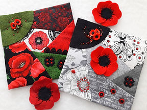 Poppies in felt and cross stitch