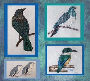 New Zealand Birds in cross stitch