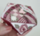 rose biscornu pincushion designed by Cherry Parker