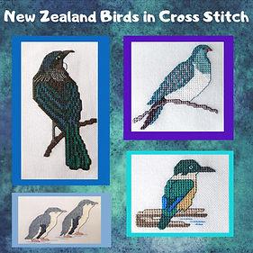 Tui, Kereru, Little Blue Penguina nd Kingfisher cross stitch pattern