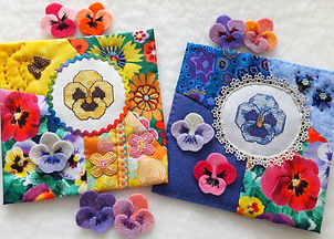 Pansies in felt and cross stitch pattern