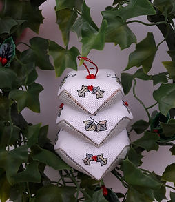 Holly and Ivy biscornu pincushion Just Cross Stitch Holiday issue 2021
