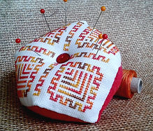 Orange maze Biscornu Pincushion cross stitch pattern
