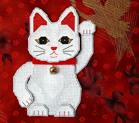 Lucky Cat 3 Dimensuonal cross stitch