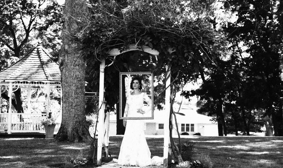Bride in a swing B&W