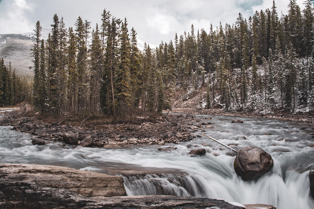 waterfall-trees-mountain-banff-landscape