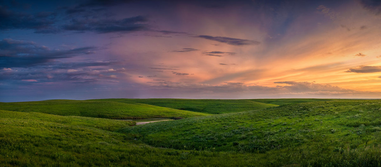Sunset Panoramic of Kansas Flint Hills