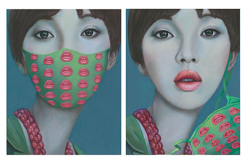 "Ling Jian ""Army Princess"" with Tom Wesselmann's mask & Unmasked"
