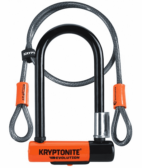 "Kryptonite KryptoLok U-Lock - 3.25 x 7"", Keyed, Black, Includes 4' cable and bra"