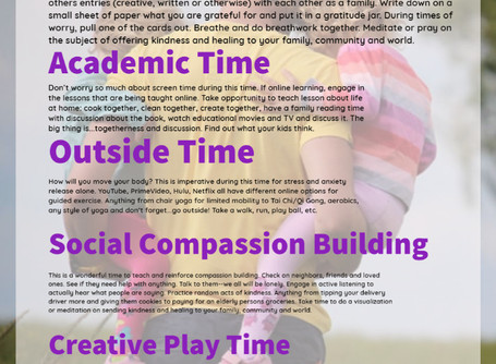 Developing Family Resiliency-A Sample Schedule for Quarantining & Social Distancing