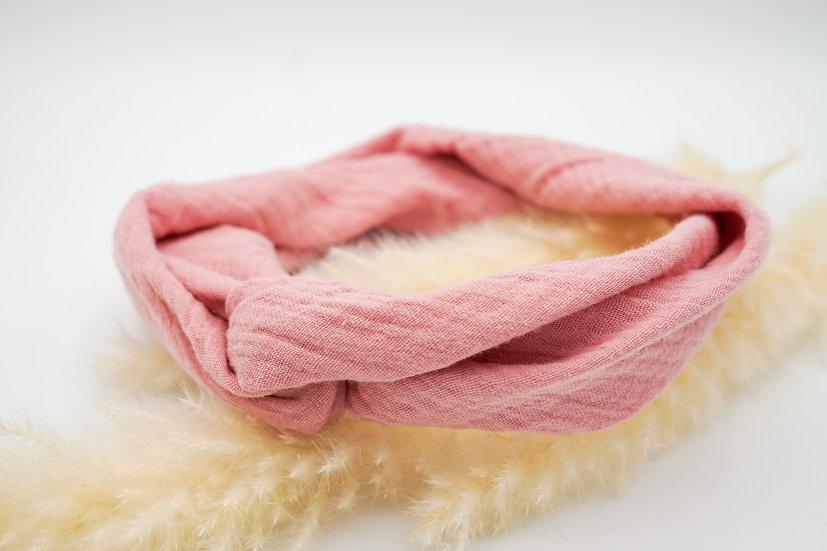 Haarband  Draht Musselin rosa