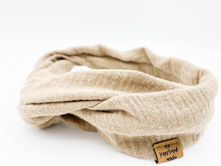Haarband  Draht Musselin beige