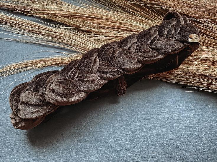 Haarband Samt geflochten braun