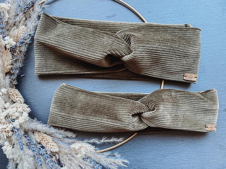 Haarband Cord olivgrün