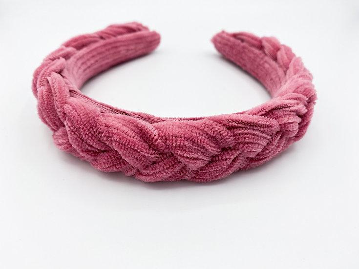 Haarreif Cord geflochten pink
