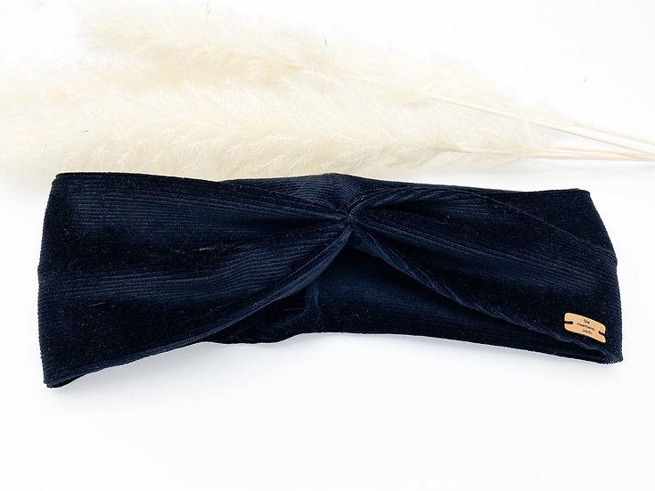 Haarband Schleife Cord schwarz