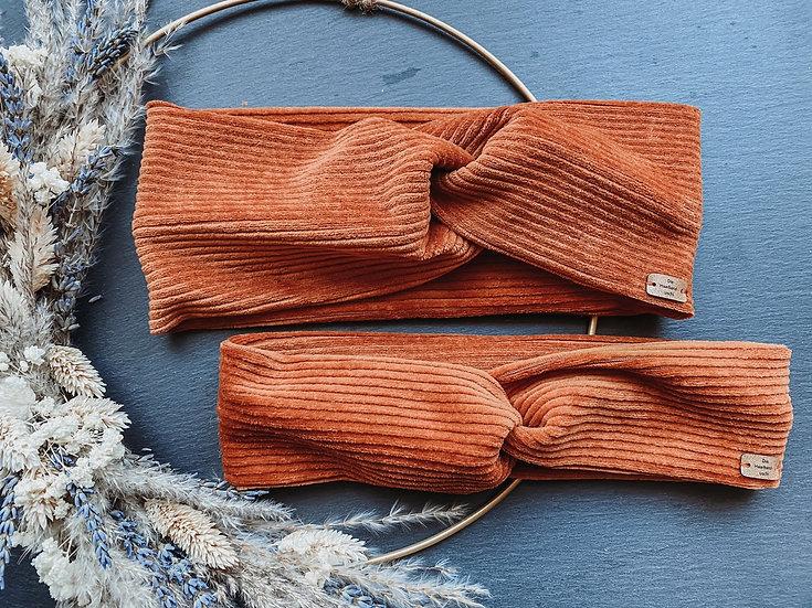 Haarband Cord orange braun
