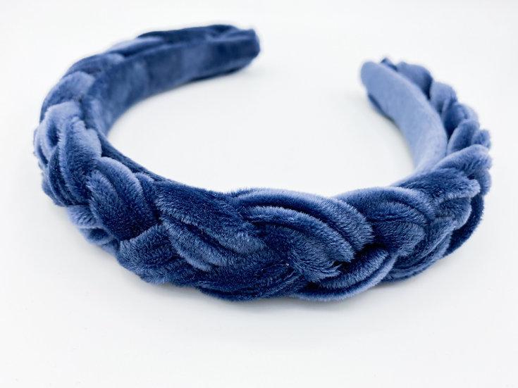 Haarreif Samt geflochten blau