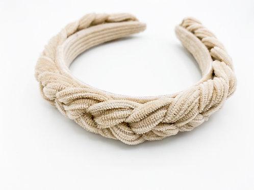 Haarreif Cord geflochten beige