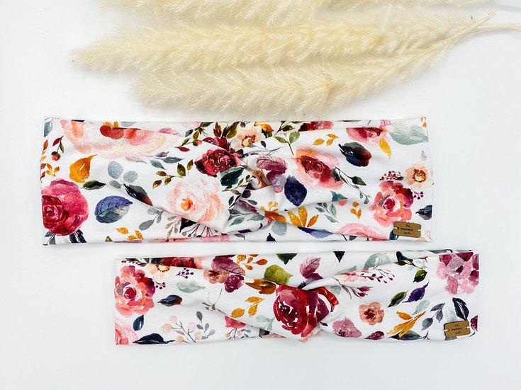 Bio Haarband Blumen weiß