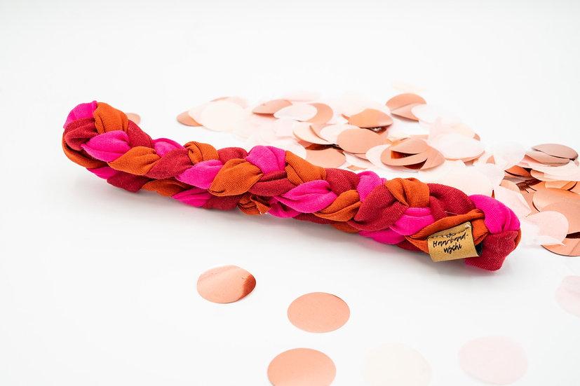 Haarband schmal geflochten pink, rot