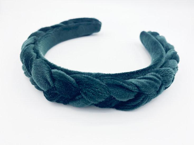 Haarreif Samt geflochten grün
