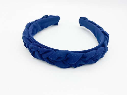 Haarreif geflochten Satin dunkelblau