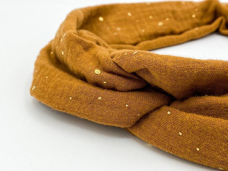 Haarband Draht Glitzer hellbraun