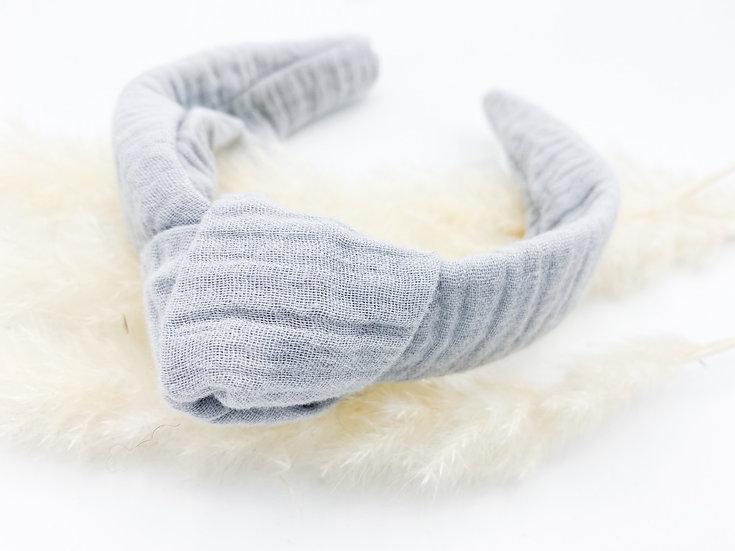 Haarreif Musselin grau