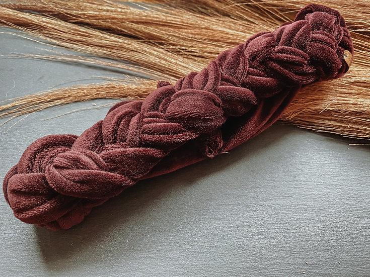 Haarband Samt geflochten Aubergine