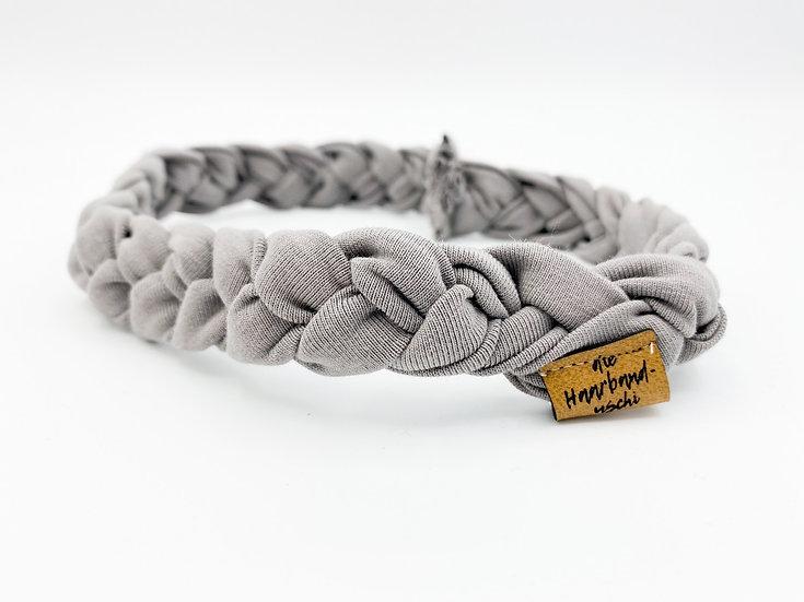 Haarband schmal geflochten grau