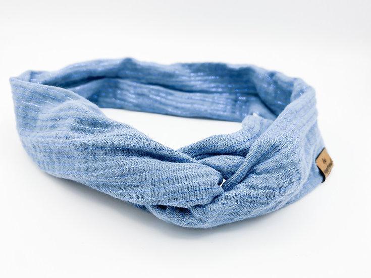 Haarband Draht hellblau glitzer