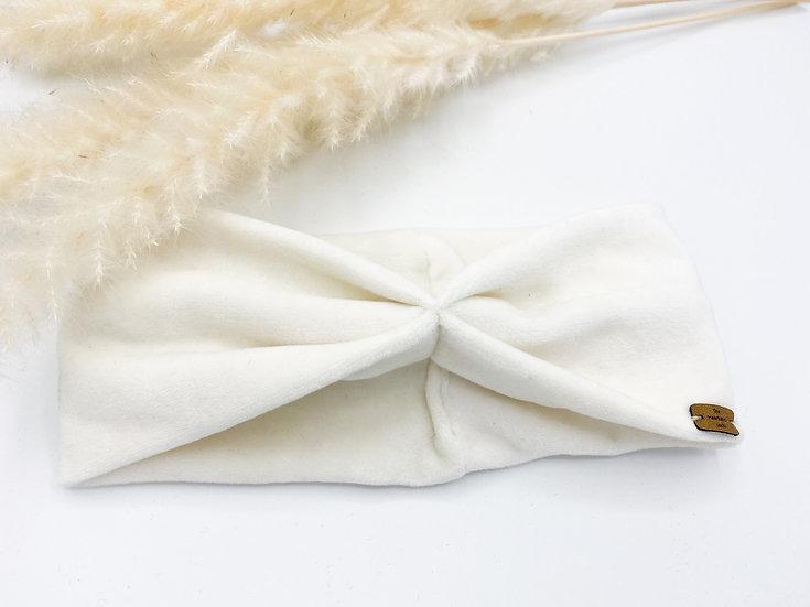 Haarband Schleife Samt weiß/creme