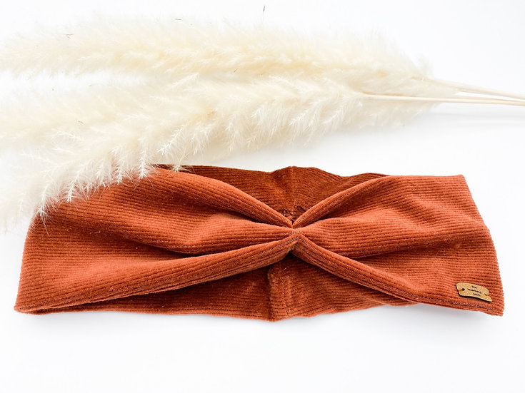 Haarband Schleife Cord orange/braun