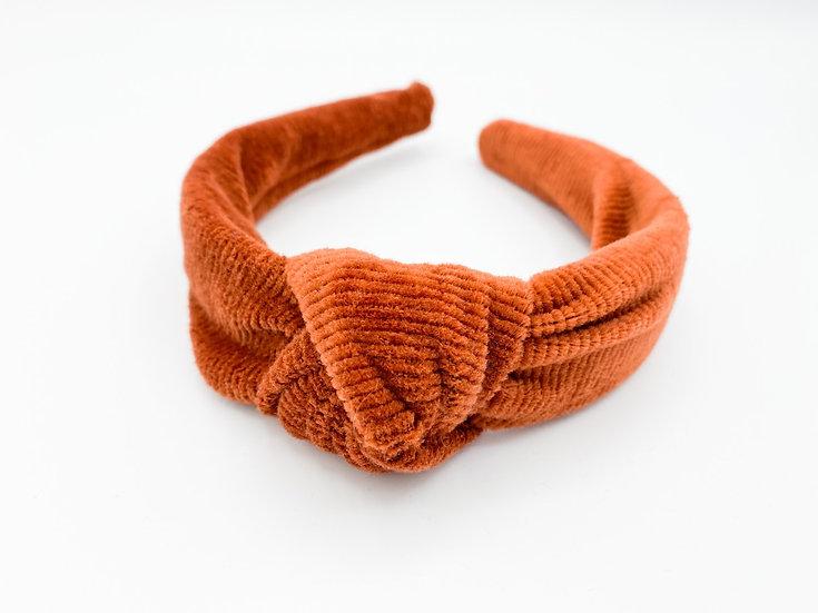 Haarreif Knoten Cord orange/braun
