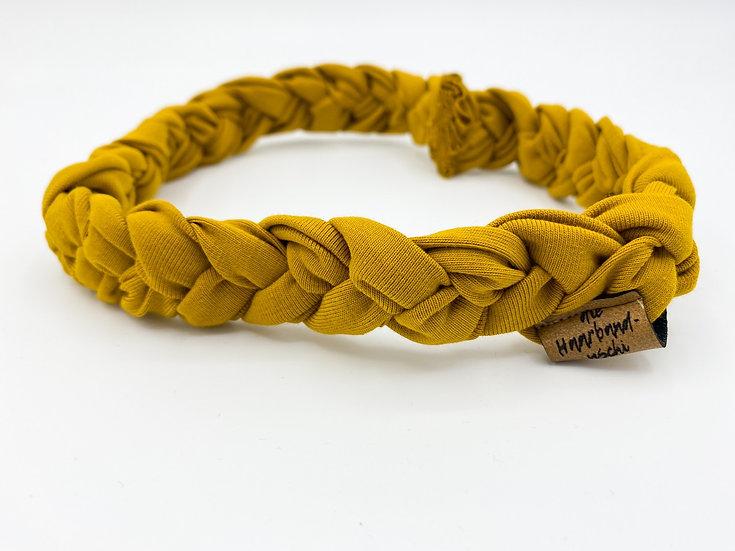 Haarband schmal geflochten Senfgelb