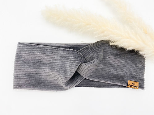 Haarband Basic Cord grau