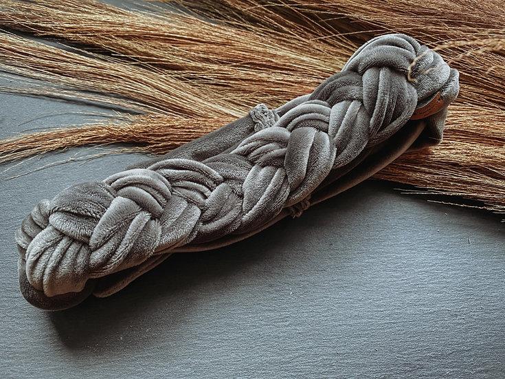 Haarband Samt geflochten grau