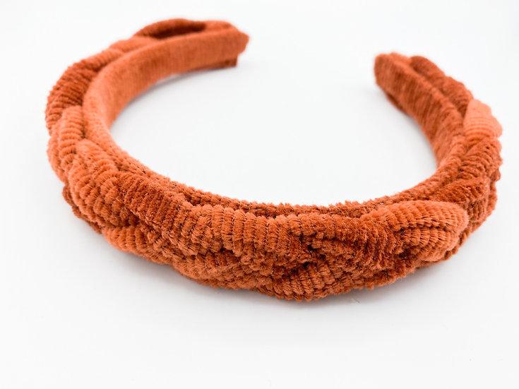 Haarreif geflochten Cord orange/braun