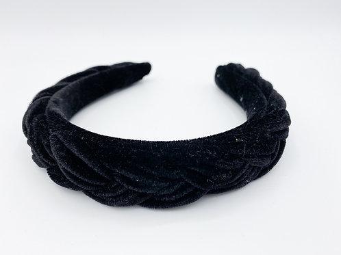 Haarreif geflochten Samt schwarz